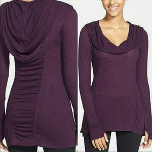 Zella Purple All Shirred Up Pullover